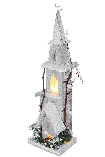 Dekoracja drewniany domek led wieżyczka